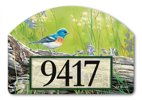 "Meadow Bluebird Yard DeSign Address Sign - 14"" x 10"""