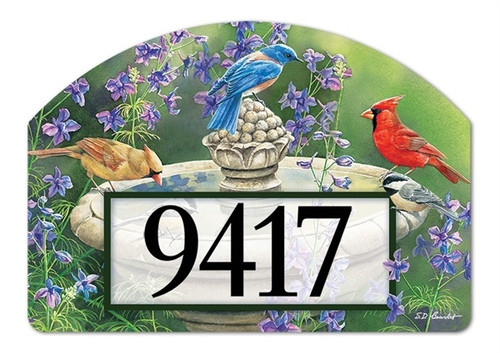 "Birdbath Gathering Yard DeSign Address Sign - 14"" x 10"""