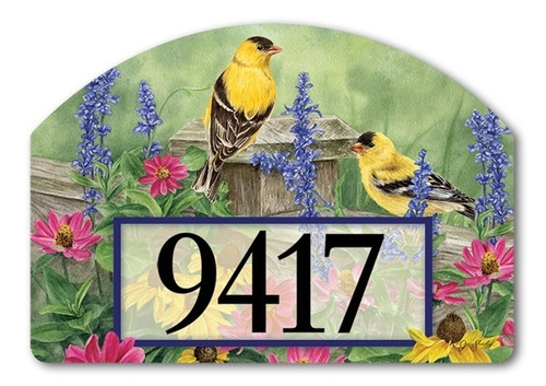"Garden Finches Yard DeSign Address Sign - 14"" x 10"""
