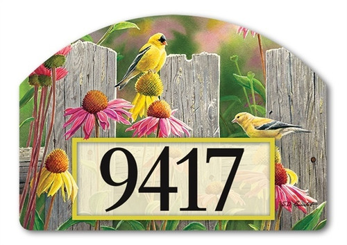 "Goldfinches and Coneflowers Yard DeSign Address Sign - 14"" x 10"""