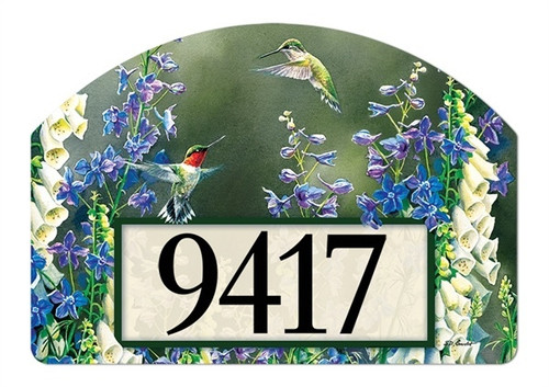"Hummingbird Garden Yard DeSign Address Sign - 14"" x 10"""
