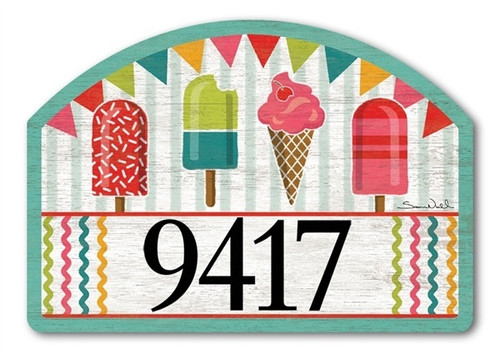 "Cool Treats Yard DeSign Address Sign - 14"" x 10"""
