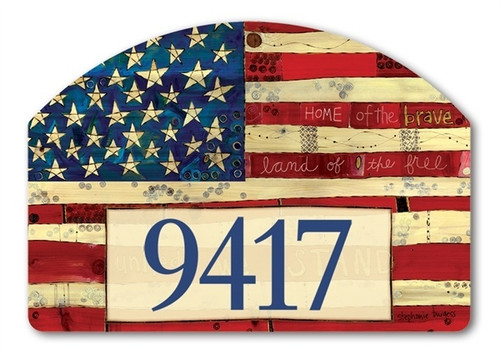 "Home of the Brave Yard DeSign Address Sign - 14"" x 10"""