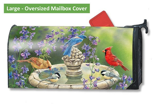 Birdbath Gathering LARGE Magnetic Mailbox Cover