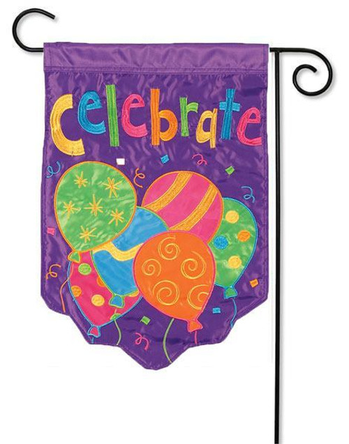 "Celebrate Balloon Applique Garden Flag - 13"" x 18"" - 2 Sided Message"
