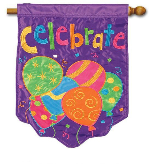 "Celebrate Balloons Applique House Flag - 28"" x 40"" - 2 Sided Message"