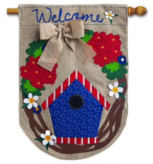 "Patriotic Welcome Wreath Burlap House Flag - 28"" x 44"" - 2 Sided Message"