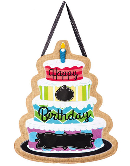 "Happy Birthday Burlap Door Decor - 16"" x 21"" - Hang On Your Door"
