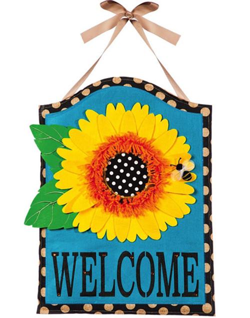 """Sunflower Welcome Burlap Door Decor - 15"""" x 21"""" - Hang on Your Front Door"""