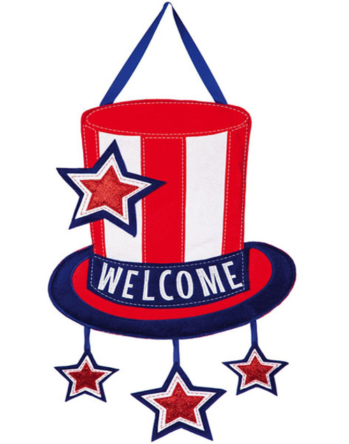 American welcome patriotic front door decoration 15 x 24 for Patriotic welcome home decorations