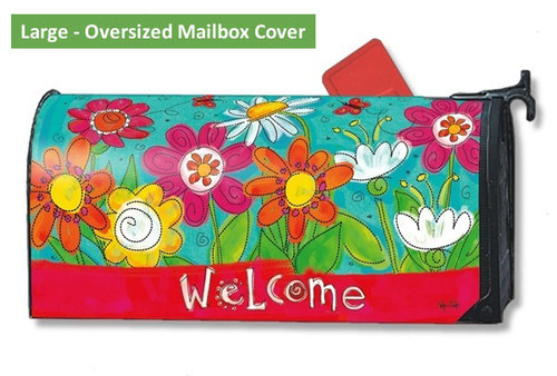 LARGE Oversized magnetic mailbox cover - Welcome Blooms