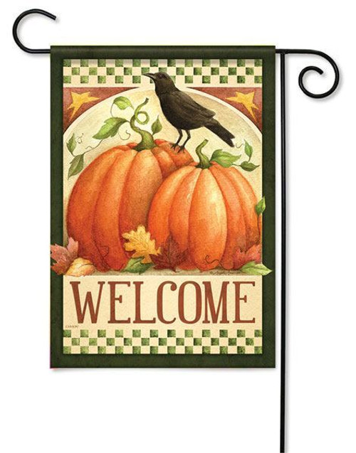 "Fall Crow Welcome Garden  Flag - 13"" x 18"" - Flag Trends - 2 Sided Message"