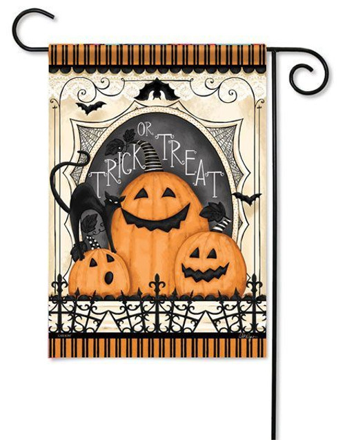 "Spooky Pumpkin Trio Garden  Flag - 13"" x 18"" - Flag Trends - 2 Sided Message"