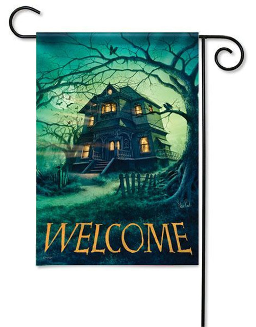 "Haunted House Garden  Flag - 13"" x 18"" - Flag Trends - 2 Sided Message"