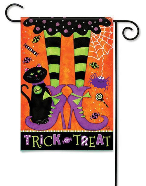 "Trick or Treat Feet Garden  Flag - 13"" x 18"" - Flag Trends - 2 Sided Message"