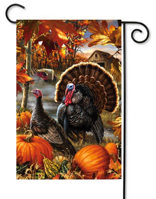 """Gobbler Farms Thanksgiving Garden Flag - 12.5"""" x 18"""" - Evergreen"""