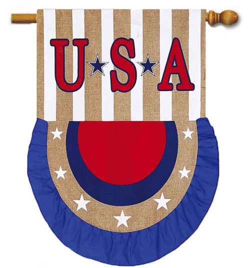 "USA Bunting Patriotic Burlap House Flag - 28"" x 40"" - 2 Sided Message"