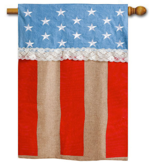 "Patriotic Stars and Stripes Burlap House Flag - 28"" x 44"" - Evergreen"
