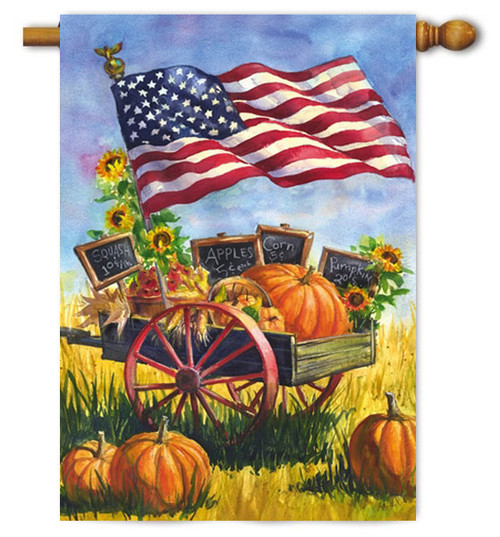 "Patriotic Farm Wagon House Flag - 29"" x 43"" - Evergreen"