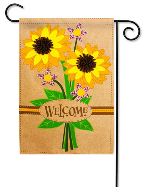 "Sunflower Bouquet Burlap Garden Flag - 12.5"" x 18"" - 2 Sided Message"