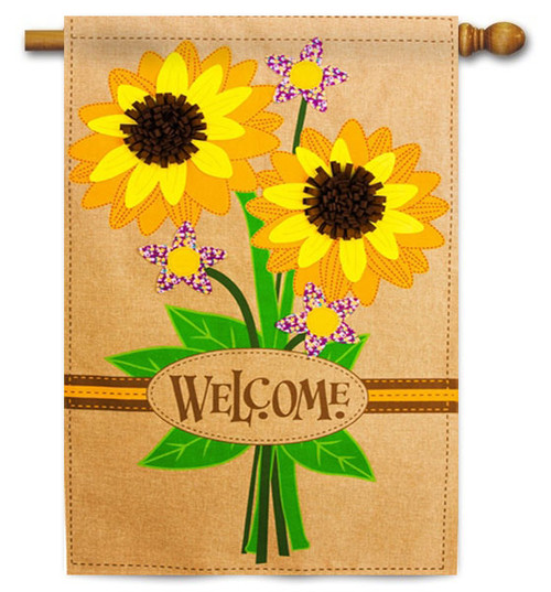 "Sunflower Bouquet Burlap House Flag - 28"" x 44"" - 2 Sided Message"