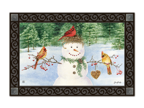"Snowman Birdfeeder MatMates Doormat - 18"" x 30"""