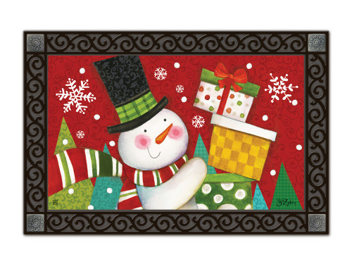 "Happy Snowman MatMates Doormat - 18"" x 30"""