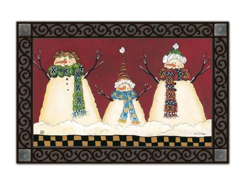 """Primitive Snowman MatMates Doormat - 18"""" x 30"""""""