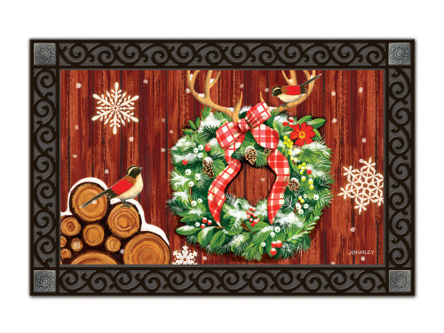 "Cozy Cabin Wreath MatMates Doormat - 18"" x 30"""