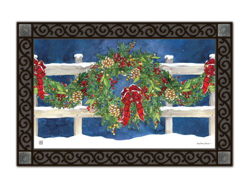 "Winter Wreath MatMates Doormat - 18"" x 30"""