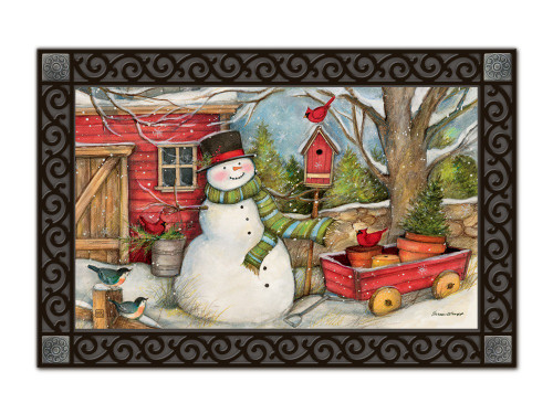 "Red Barn Snowman MatMates Doormat - 18"" x 30"""