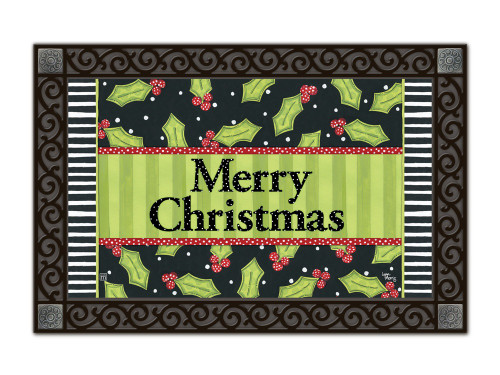 "Holly Leaves MatMates Doormat - 18"" x 30"""
