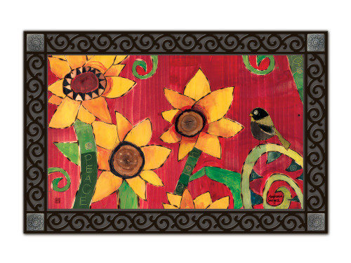 "Peace Sunflower MatMates Doormat - 18"" x 30"""