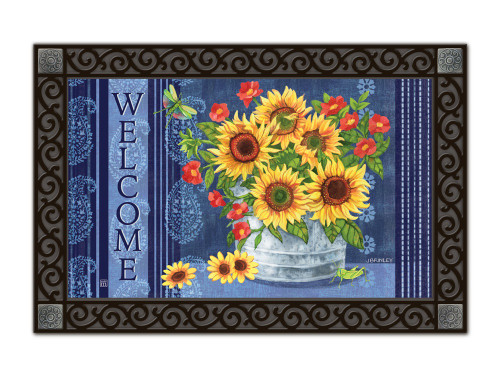 "Denim Sunflowers MatMates Doormat - 18"" x  30"""