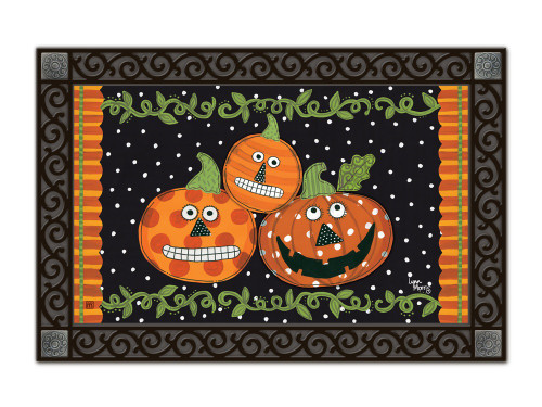 "Pumpkin Faces MatMates Doormat - 18"" x 30"""