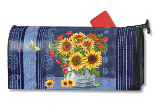Denim Sunflowers Magnetic Mailbox Cover