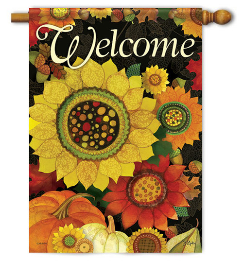 "Autumn Sunflowers House Flag - 28"" X 40"" - 2 Sided Message"