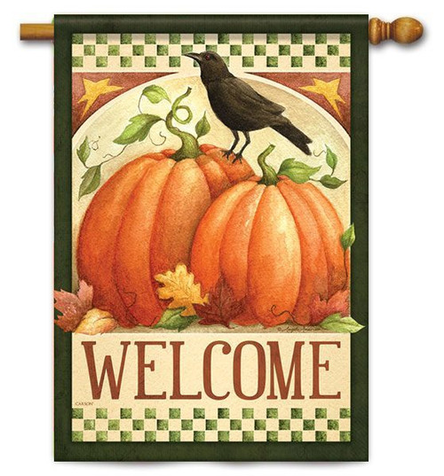 "Fall Crow Welcome House Flag - 28"" X 40"" - 2 Sided Message"