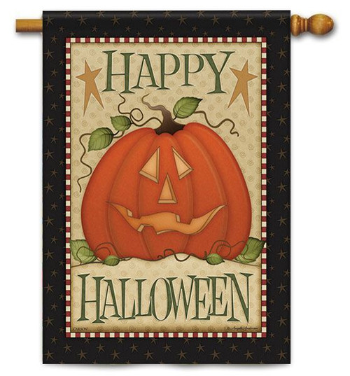 "Country Halloween House Flag - 28"" X 40"" - 2 Sided Message"