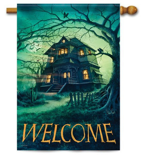 "Haunted House House Flag - 28"" X 40"" - 2 Sided Message"