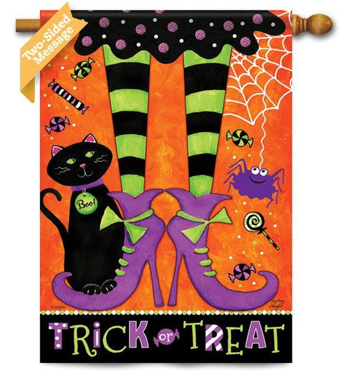 "Trick Or Treat Feet House Flag - 28"" X 40"" - 2 Sided Message"