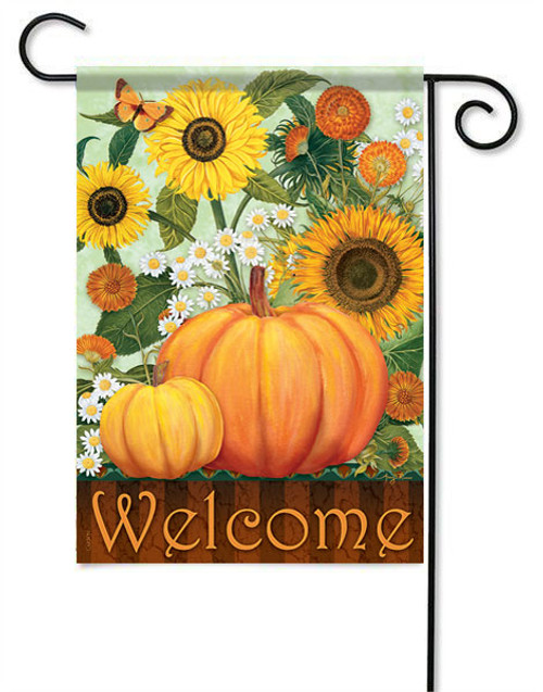 "Sunflower Pumpkins Garden Flag - 13 "" x 18"" - 2 Sided Message"