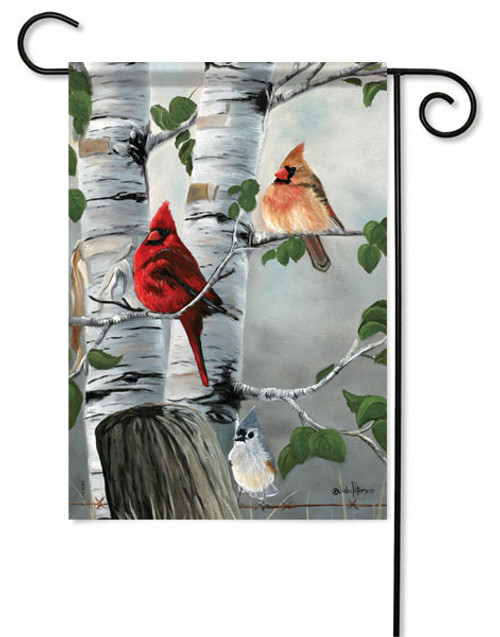 "Cardinals & Titmouse Garden Flag - 13 "" x 18"" - Flag Trends"