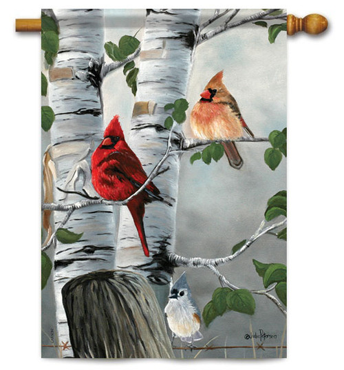 "Cardinals & Titmouse House Flag - 28"" X 40"" - Flag Trends"