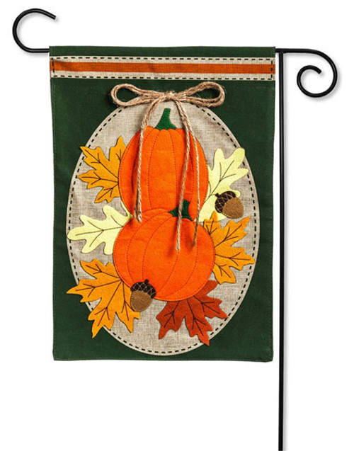 "Pumpkin Duo Burlap Garden Flag - 12.5"" x 18"" -  Evergreen"