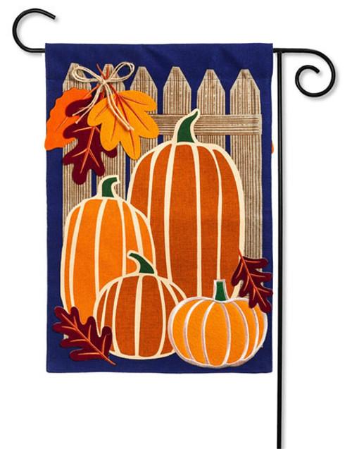 """Autumn Pumpkin Group Burlap Garden Flag - 12.5"""" x 18"""" - Evergreen"""