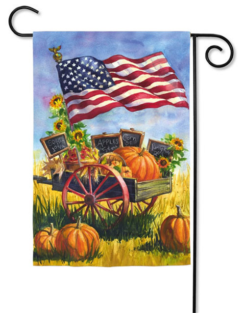 "Patriotic Wagon Garden Flag - 2 Sided Message - 12.5"" x 18"" - Evergreen"