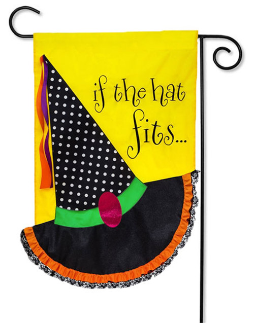"If the Hat Fits Applique Garden Flag - 2 Sided Message - 12.5"" x 18"" - Evergreen"