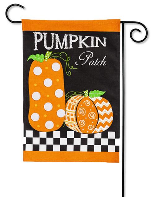 """Pumpkin Patch Burlap Garden Flag - 2 Sided Message - 12.5"""" x 18"""" - Evergreen"""