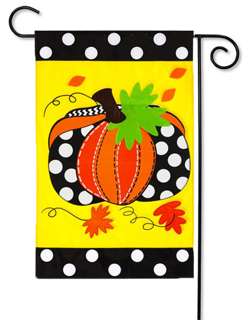 "Pumpkin Applique Garden Flag - 12.5"" x 18"" - Evergreen"